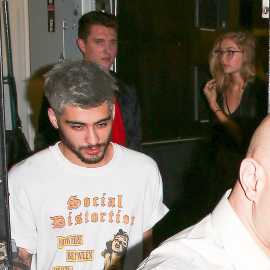 24.NOVEMBER.2015 - WEST HOLLYWOOD - USA **EXCLUSIVE ALL ROUND PICTURES TO ALL UK NEWSPAPERS** *STRICTLY AVAILABLE FOR UK AND GERMANY USE ONLY* Zayn Malik and Gigi Hadid returned to The Nice Guy for another low-key date night. The rumored couple was first spotted together at the same location after Sunday night's American Music Awards. The duo followed security out of the hotspotÇ¿Ùs private exit and loaded into the same limo. Gigi covered her face with her messy hair to avoid being photographed with the former One Direction singer. BYLINE MUST READ : XPOSUREPHOTOS.COM ***UK CLIENTS - PICTURES CONTAINING CHILDREN PLEASE PIXELATE FACE PRIOR TO PUBLICATION *** *UK CLIENTS MUST CALL PRIOR TO TV OR ONLINE USAGE PLEASE TELEPHONE 0208 344 2007*