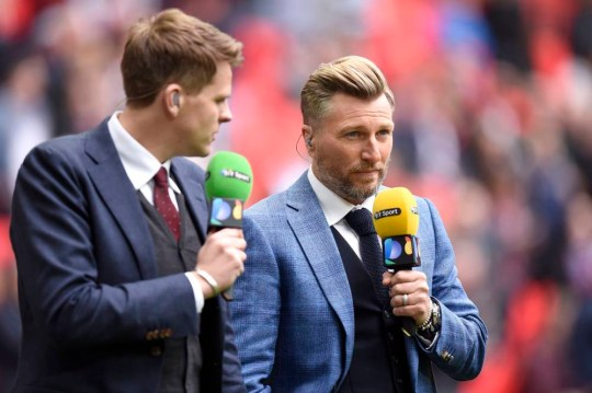 BT Sport presenter Jake Humphrey and pundit Robbie Savage before the FA Cup Semi Final match at Wembley Stadium, London, England. PRESS ASSOCIATION Photo. Picture date: Sunday April 19, 2015. See PA story SOCCER Villa. Photo credit should read: Andrew Matthews/PA Wire. RESTRICTIONS: Editorial use only. Maximum 45 images during a match. No video emulation or promotion as 'live'. No use in games, competitions, merchandise, betting or single club/player services. No use with unofficial audio, video, data, fixtures or club/league logos.