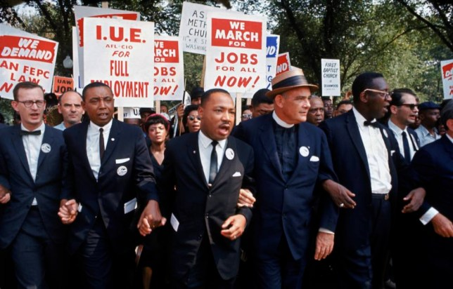 Leaders of March on Washington for Jobs & Freedom marching w. signs (R-L) Rabbi Joachim Prinz, unident., Eugene Carson Blake, Martin Luther King, Floyd McKissick, Matthew Ahmann & John Lewis. (Photo by Robert W. Kelley/Time Life Pictures/Getty Images)
