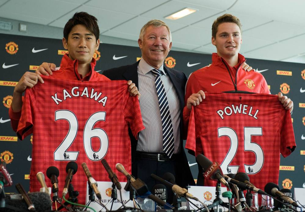 July12th 2012 - Manchester, UK- MAN UTD NEW SIGHNINGS KAGAWA AND POWELL - Man Utd unveil their new sighnings Powell and Kagawa at Old Trafford. PIcture by Ian Hodgson/Daily Maill-r; Shinji Kagawa, Sir Alex Ferguson, Nick Powell.. . REXMAILPIX.