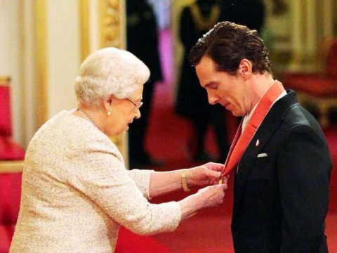 Benedict Cumberbatch returns to Buckingham Palace to collect CBE, wearing clothes this time
