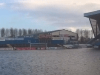 Carlilse United's Brunton Park pitch is now an actual lake after Storm Abigail leaves it under water