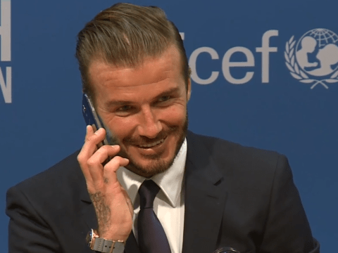 David Beckham answers journalist's phone at Unicef charity match press conference, caller hangs up