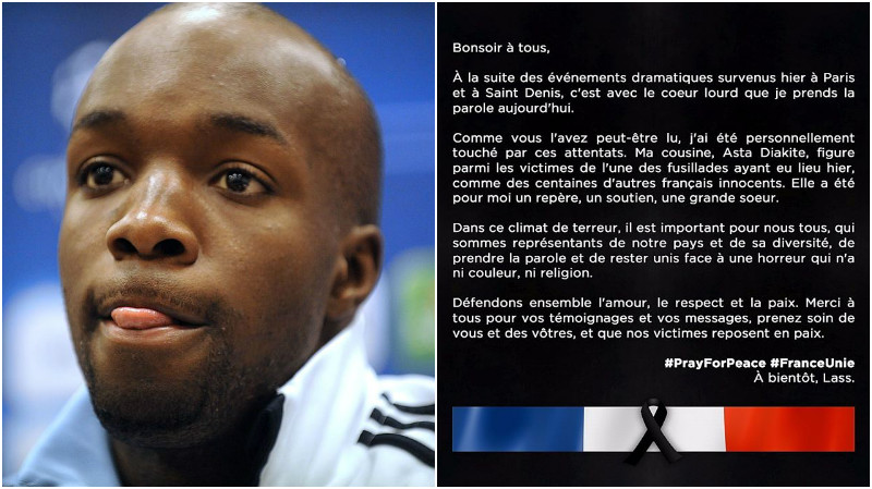 France international Lassana Diarra confirms his cousin was murdered during Paris terrorist attacks
