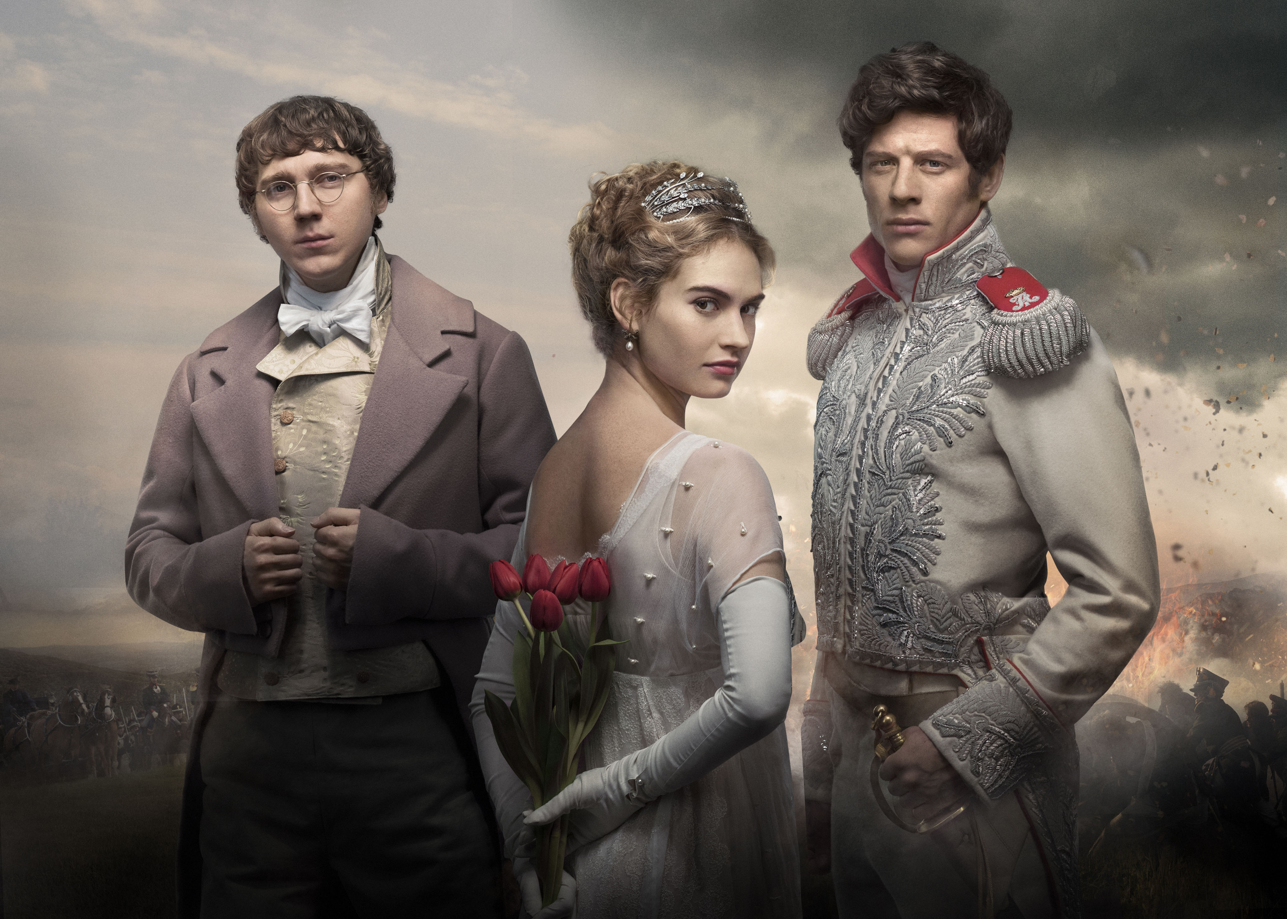 First look at epic BBC drama War & Peace as a tiara-clad Lily James stands with Paul Dano and James Norton
