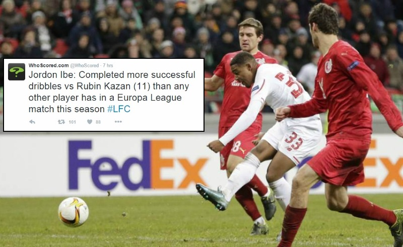 Liverpool's Jordon Ibe completed the most successful dribbles in the Europa League this season v Rubin Kazan