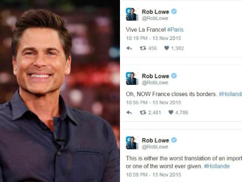 Rob Lowe slams 'trolls' as he defends his 'distasteful' tweets in wake of Paris terror attacks