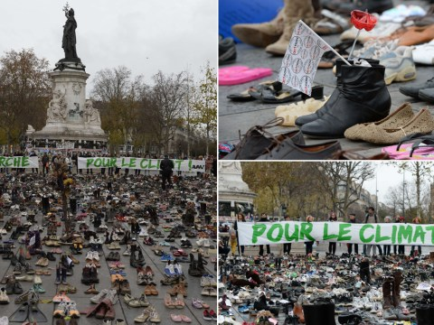Thousands of empty shoes replace marchers at cancelled climate protest in Paris