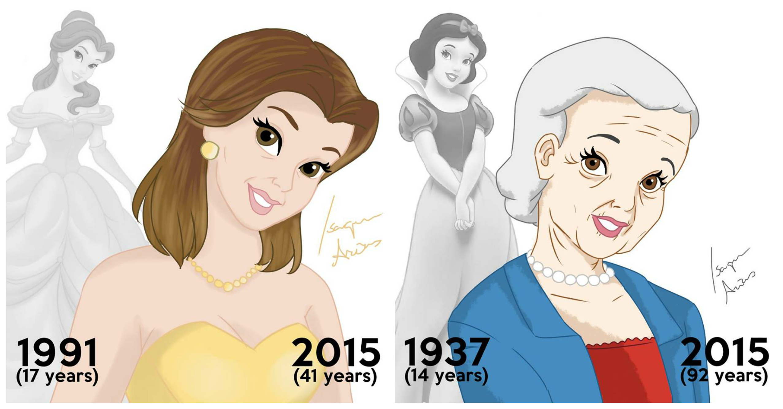 Artist re-imagines Disney princesses to show what they'd look like if they had aged since their film release