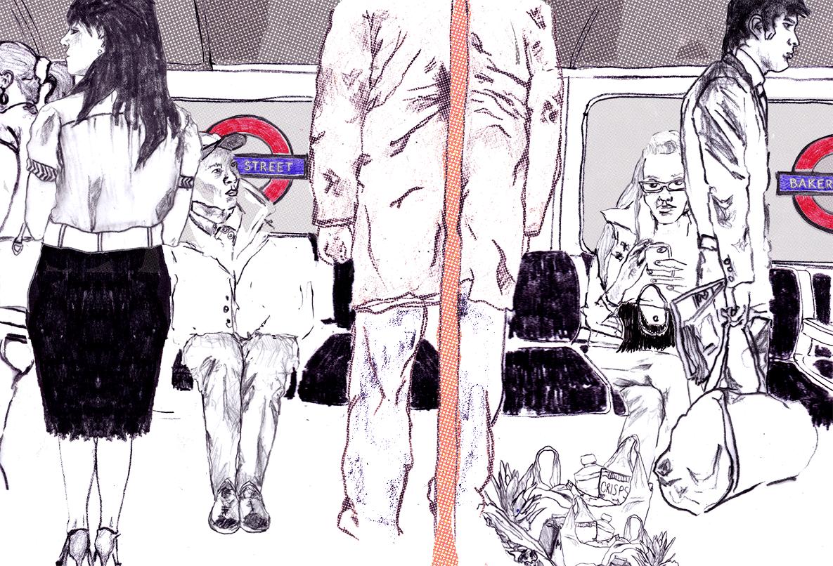 Naked women on railroad tracks