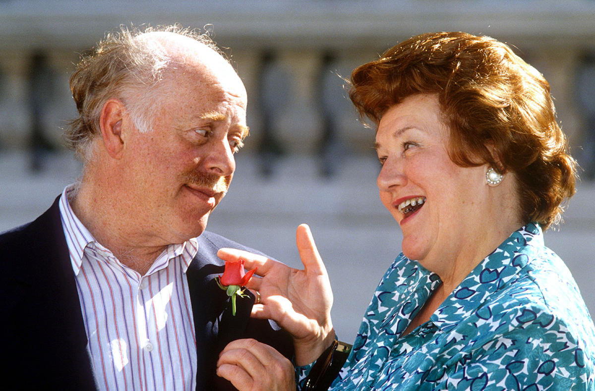 Mandatory Credit: Photo by Peter Brooker/REX Shutterstock (189319f) CLIVE SWIFT AND PATRICIA ROUTLEDGE 'Keeping Up Appearances' TV Series, Photocall, Britain - 1991
