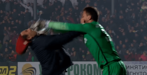 Shakhtar Donetsk goalkeeper shoves fan in the face after confrontation
