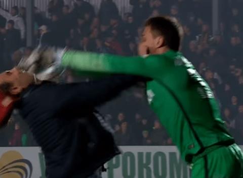 Shakhtar Donetsk goalkeeper shoves fan in the face after confrontation