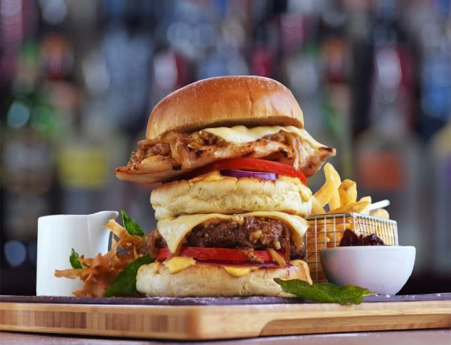 TGI Friday Stuck in the Chimney Stack burger