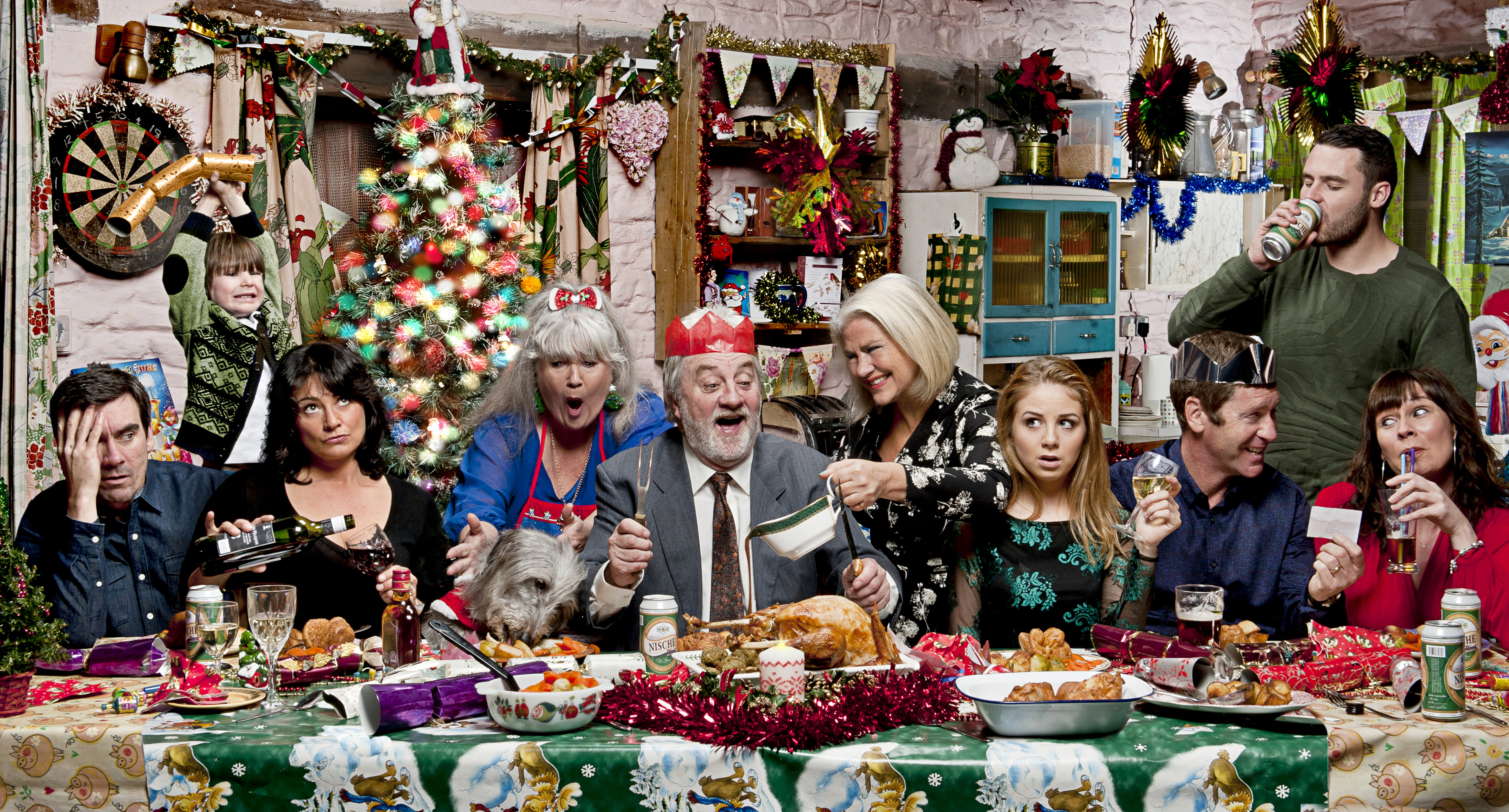FROM ITV STRICT EMBARGO - Tuesday 8 December 2015 With Zak Dingle (Steve Halliwell) falling in love with lodger Joanie (Denise Black) birthday girl Belle (Eden Taylor Draper) is poised to expose his philandering. Could this year's Dingle Christmas Dinner end in disaster? Lisa Dingle (Jane Cox) gets on well with Joanie and has no idea what has been going on between her and her husband Zak. How will this devoted matriarch react should she find out? Chas Dingle (Lucy Pargeter) is chuffed she's been re-acquainted with ex husband Gordon (Gary Mavers) but her troubled son, Aaron (Danny Miller), can't cover his hatred for his father. Will Chas be forced to make a difficult decision? Meanwhile, Cain Dingle (Jeff Hordley) and wife Moira (Natalie J. Robb) are juggling their tempestuous marriage with trying to parent their extended family. With Charity Dingle soon to be released from prison could Cain's ex lover prove to be the nail in the coffin for this strained relationship? Photographer - Amy Brammall This photograph is (C) ITV Plc and can only be reproduced for editorial purposes directly in connection with the programme or event mentioned above, or ITV plc. Once made available by ITV plc Picture Desk, this photograph can be reproduced once only up until the transmission [TX] date and no reproduction fee will be charged. Any subsequent usage may incur a fee. This photograph must not be manipulated [excluding basic cropping] in a manner which alters the visual appearance of the person photographed deemed detrimental or inappropriate by ITV plc Picture Desk. This photograph must not be syndicated to any other company, publication or website, or permanently archived, without the express written permission of ITV Plc Picture Desk. Full Terms and conditions are available on the website www.itvpictures.com