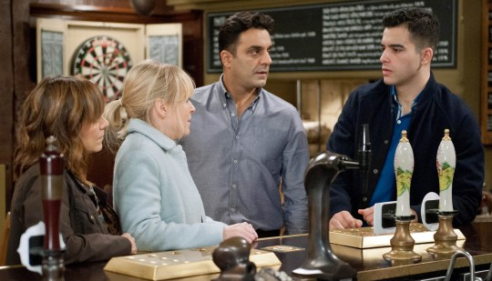 FROM ITV STRICT EMBARGO - No Use Before 29 December 2015 Emmerdale - Ep 7393 Thursday 7th January 2016 - 2nd Ep As the search for Johnny and Adam continues, Kirin Kotecha [ADAM FIELDING] is soon shocked to hear from Vanessa Woodfield MICHELLE HARDWICK] he is Johnny's father. A worried Rakesh Kotecha [PACHA BOCARIE] looks to Priya Sharma [FIONA WADE] in panic. Fully aware their lives are about to crash around them. How long before their meddling is exposed? Picture contact: david.crook@itv.com on 0161 952 6214 Photographer - Amy Brammall This photograph is (C) ITV Plc and can only be reproduced for editorial purposes directly in connection with the programme or event mentioned above, or ITV plc. Once made available by ITV plc Picture Desk, this photograph can be reproduced once only up until the transmission [TX] date and no reproduction fee will be charged. Any subsequent usage may incur a fee. This photograph must not be manipulated [excluding basic cropping] in a manner which alters the visual appearance of the person photographed deemed detrimental or inappropriate by ITV plc Picture Desk. This photograph must not be syndicated to any other company, publication or website, or permanently archived, without the express written permission of ITV Plc Picture Desk. Full Terms and conditions are available on the website www.itvpictur