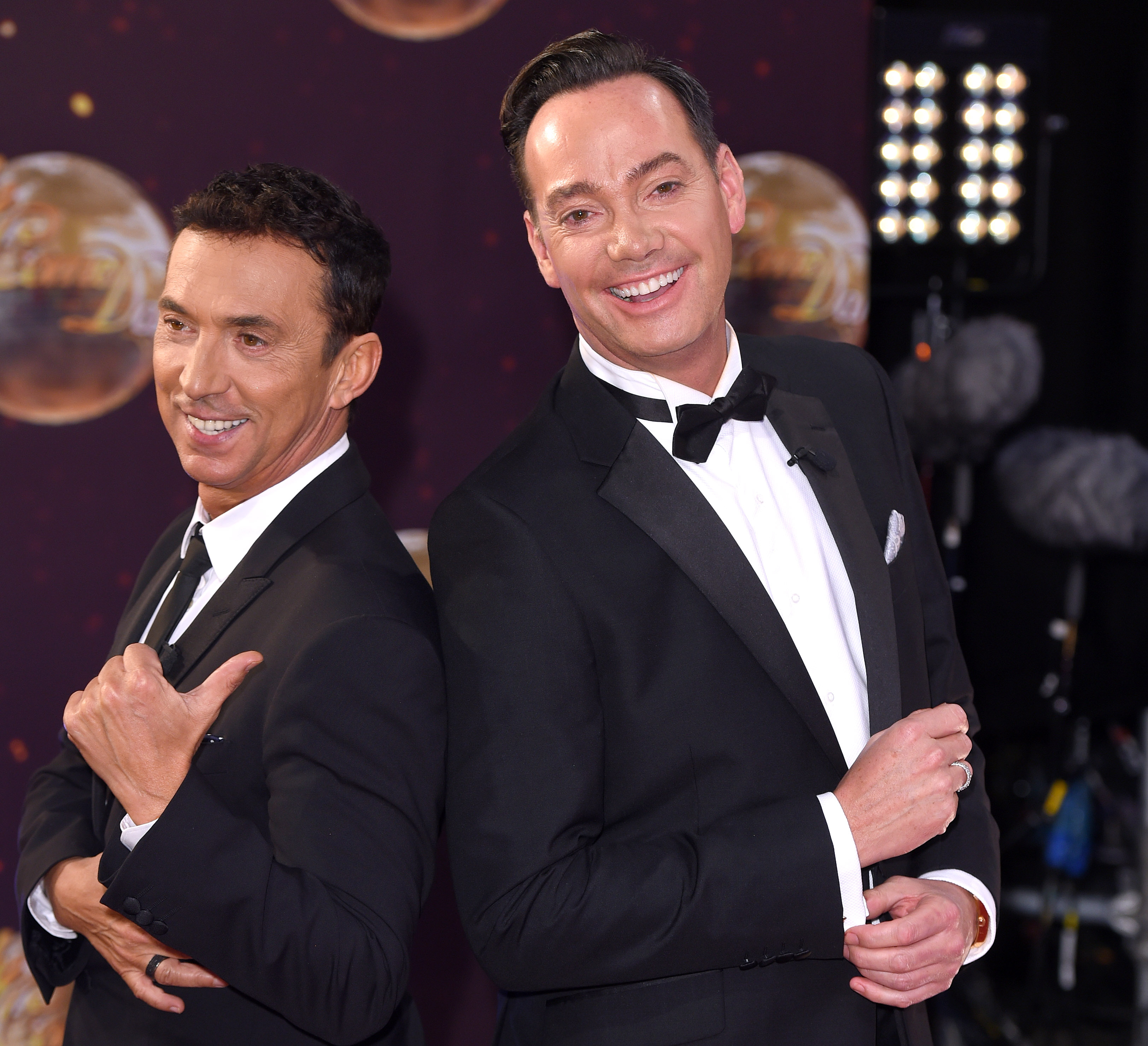 """BOREHAMWOOD, ENGLAND - SEPTEMBER 01: Bruno Tonioli and Craig Revel Horwood attend the red carpet launch of """"Strictly Come Dancing 2015"""" at Elstree Studios on September 1, 2015 in Borehamwood, England. (Photo by Karwai Tang/WireImage)"""