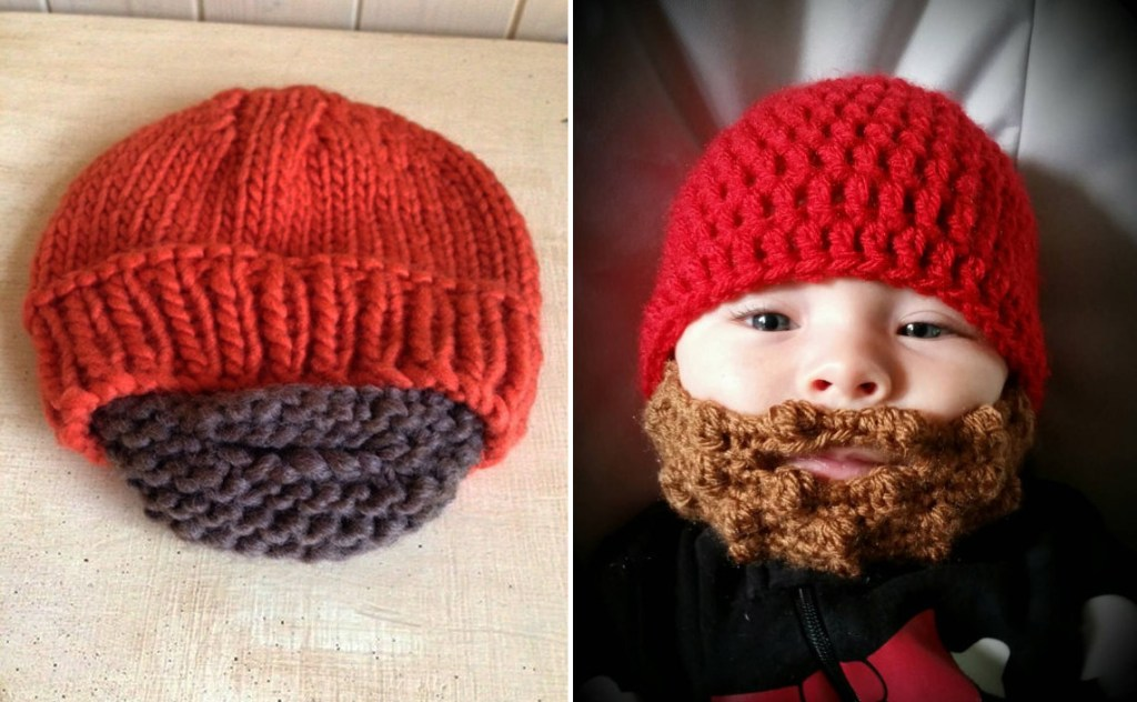 TheWeeOneBoutique sells knitted baby beards for Christmas on Etsy ... cad2ef67086