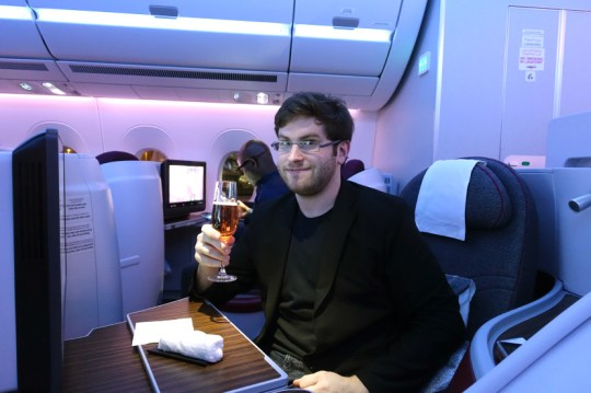 Zach Honig on board the plane (Picture: Zach Honig)
