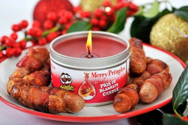 The Pringles Pigs In Blankets Scented Candle, one in a range of three Pringles Candles - Cheesy Cheese, Texas BBQ and Pigs in Blankets ¿ created this Christmas. The candles boast the same savoury scents as the delicious Pringles flavours they¿re modelled on. This year the launch of Pigs in Blankets Pringles caused a social media sensation, so Pringles created this candle so the smell of the nation¿s favourite Christmas food could waft through the house.nnnnThis photo may only be used in for editorial reporting purposes for the contemporaneous illustration of events, things or the people in the image or facts mentioned in the caption. Re-use of the picture may require further permission from the copyright holder. Photo credit should read: Adrian Brooks/Imagewise