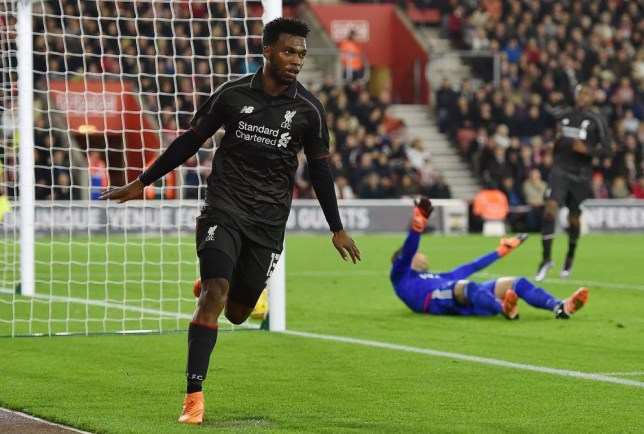 SOUTHAMPTON, ENGLAND - DECEMBER 02: (THE SUN OUT, THE SUN ON SUNDAY OUT) Daniel Sturridge of Liverpool celebrates after scoring the second goal during the Capital One Cup Quarter Final match between Southampton and Liverpool at St Mary's Stadium on December 2, 2015 in Southampton, England. (Photo by Andrew Powell/Liverpool FC via Getty Images)