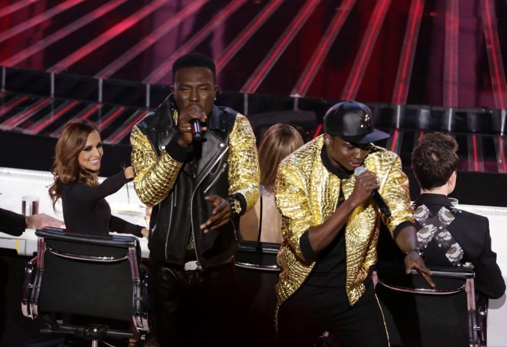 *** MANDATORY BYLINE TO READ: Syco / Thames / Corbis ***<BR /> X Factor Live Finals, London, Britain - 5 December 2015 <P> Pictured: Reggie n Bollie, Cheryl Fernande <B>Ref: SPL1190267 051215 </B><BR /> Picture by: Syco/Thames/Corbis/Dymond<BR /> </P><P>