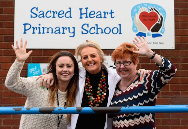 BPM MEDIAnThe Sacred Heart Primary school in Tipton. Pictured is Happiness Coach Jules Mitchell (centre) with Hapiness Teacher Samantha Rock (left) and Head Teacher Mel Gee.