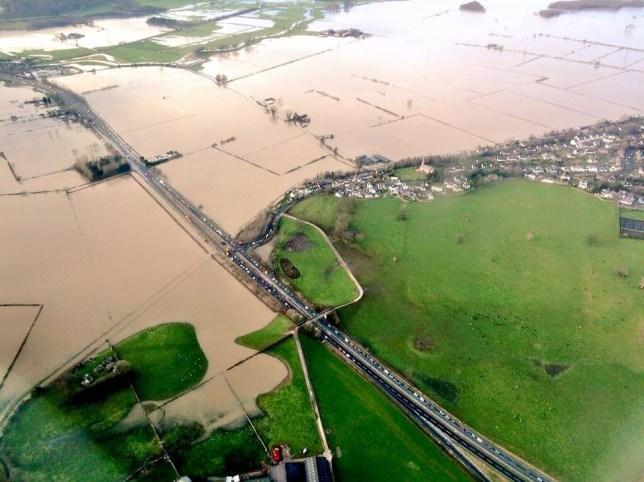 Kendal Floods seen from above as storm desmond hits the lake district. KENDAL, CUMBRIA Mandatory Credit - Alex Roebuck / www.alexroebuck.co.uk