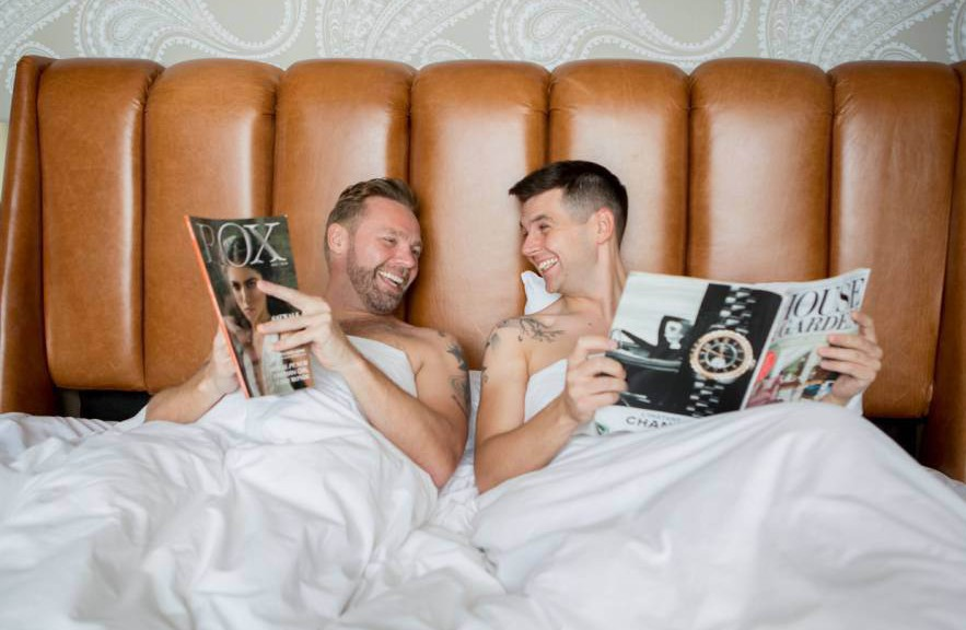 MANDATORY CREDIT: Katie Byram/Rex Shutterstock. Only for use in story about Groom and Best Man celebrate Bromance in funny photoshoot. Editorial Use Only. No stock, books, advertising or merchandising without photographer's permission. Mandatory Credit: Photo by Katie Byram/REX Shutterstock (5480436c) The groom is called John Taylor and his best man Andy Pemberton Groom and Best Man celebrate Bromance in funny photoshoot, America - Aug 2015 FULL BODY: http://www.rexfeatures.com/nanolink/rp6y A groom and his best man decided to celebrate their romance with a hilarious photoshoot before he got married. The groom, John Taylor and his best man Andy Pemberton wanted to embrace their long running friendship with some fun photographs. Some of the funny photographs show the twosome enjoying a bath together before enjoying a nap and even spooning.