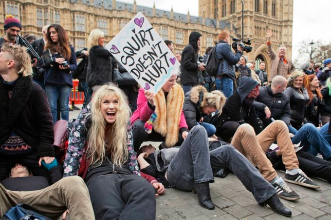 CITY OF WESTMINSTER, LONDON, UNITED KINGDOM - 2014/12/12: Protestors at the mass face-sitting porn protest in response to UK Audiovisual Media Services Regulations 2014 (AMSR) changing the regulations on the production of pornography in the UK. (Photo by Andrea Baldo/LightRocket via Getty Images)