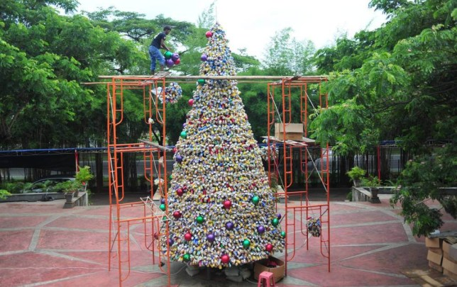 Church of Santo Laurensius Christmas tree made out of