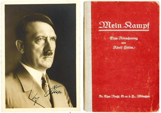 First edition of Mein Kampf signed by Adolf Hitler which is expected to reach £20,000 at auction on 15 June 2005. The book is thought to have been removed from one of Hitler's offices at the end of the Second World War and is expected to fetch between £20,000 and £25,000.