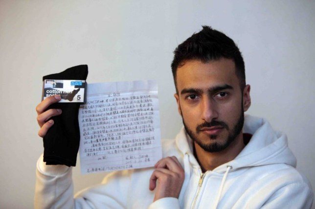 Primark shopper Shahkiel Akbar was stunned after finding a letter claiming to be from a Chinese torture victim in a pair of budget socks.nThe call centre worker, from Fenham, Newcastle, discovered the note after purchasing the black cotton-rich footwear from the value retailer¿s Metrocentre store.nShahkiel became alarmed when he translated the note into English and found what appeared to be a desperate cry for help.nnChinese letter in Primark socks: Shahkiel Akbar, 25 of Fenham, Newcastle who found a Chinese letter in his new socks from Primark, possibly written in the factory where the socks were made