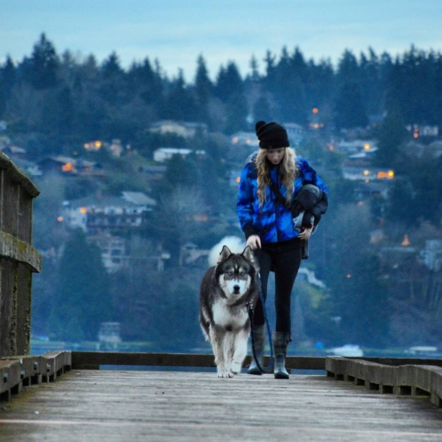 PIC FROM Amanda Tromp / CATERS NEWS - (PICTURED: Amanda Tromp and her Siberian Husky, Kyro, Washington state.) A young woman who was rescued from an abusive relationship by her rescue dog has turned her painful story into fairy tale photographs. Brave Amanda Tromp, 22, was treated like a human punch bag by her violent ex-boyfriend, when she adopted her gorgeous Siberian Husky, Kyro. Initially she volunteered to bottle-feed the new born pups after the mother of the litter was unable to care for them. But she instantly fell in love with Kyro and brought him home - where her ex-boyfriends behaviour continued to worsen. - SEE CATERS COPY