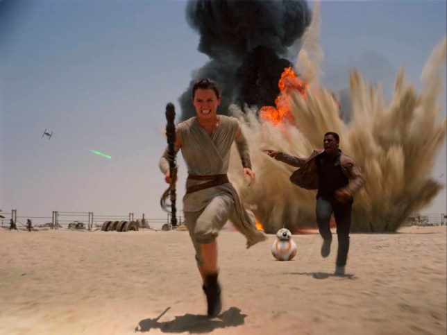 "Film: Star Wars: Episode VII - The Force Awakens (2015), with John Boyega as Finn and Daisy Ridley as Rey. This photo provided by Disney shows Daisey Ridley as Rey, left, and John Boyega as Finn, in a scene from the new film, ""Star Wars: The Force Awakens,"" directed by J.J. Abrams. The movie releases in the U.S. on Dec. 18, 2015. (Film Frame/Disney/Lucasfilm via AP)"