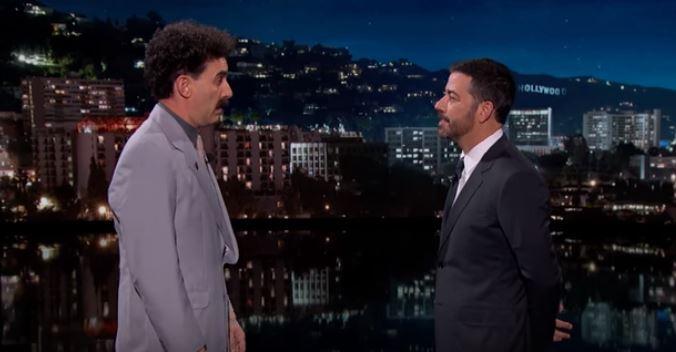 High five! Borat returns to call Donald Trump a 'rich American racist'