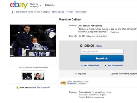 Leeds United owner Massimo Cellino put up for sale on eBay by angry fans