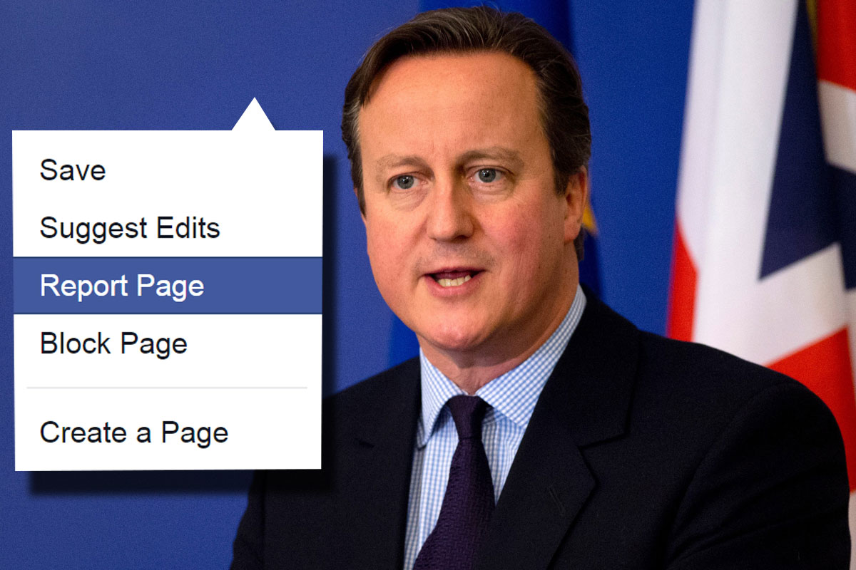 People are reporting David Cameron's Facebook page over ISIS bombing post Getty