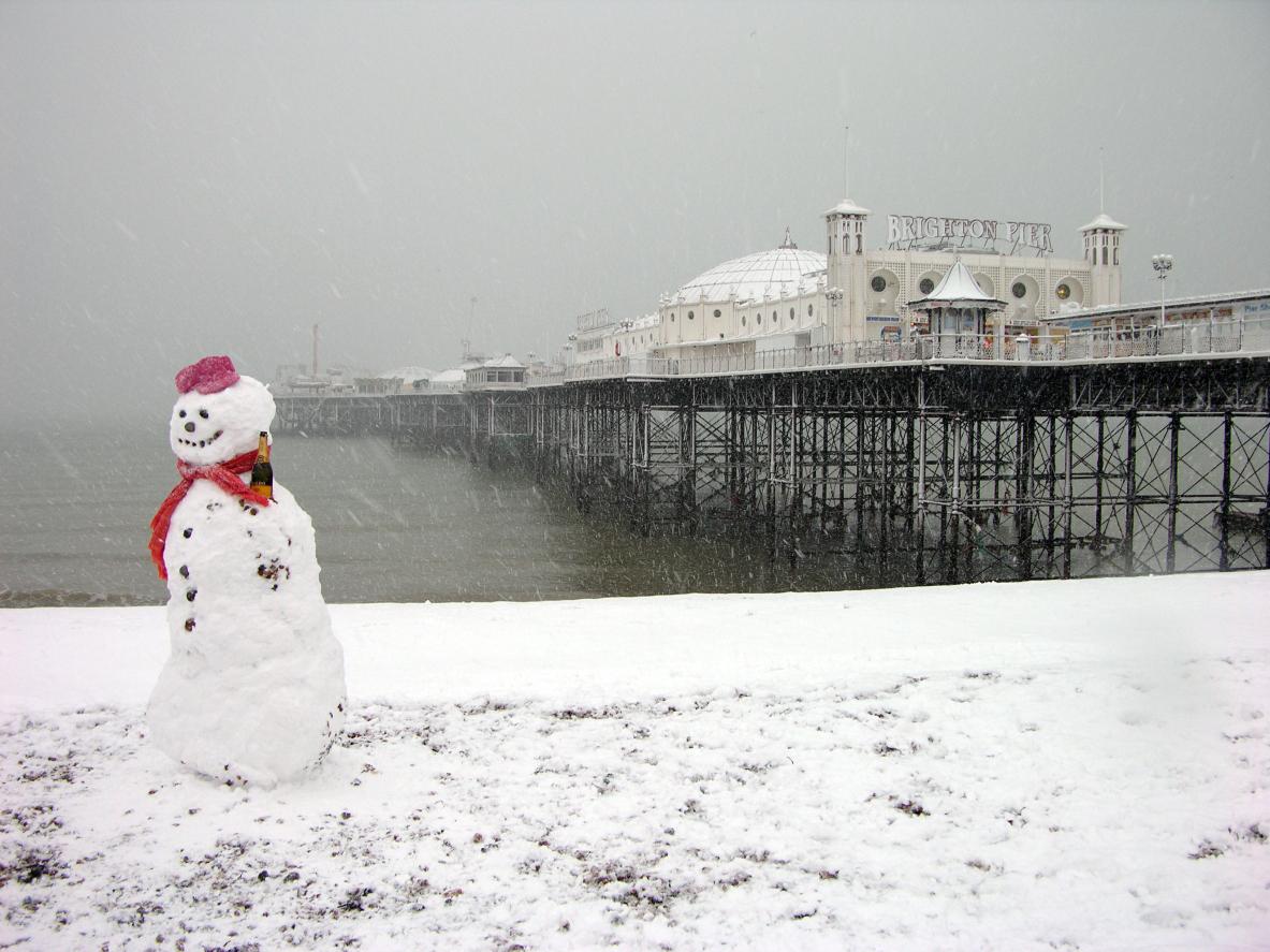 Snowman at Brighton Pier