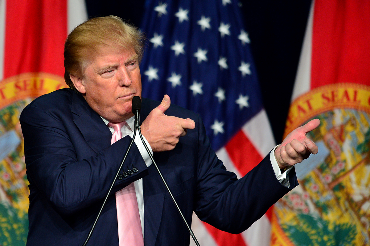 DORAL, FL - OCTOBER 23: Republican presidential candidate Donald J. Trump attends a campaigns rally In Florida at the Trump National Doral on October 23, 2015 in Doral, Florida. Trump leads most polls in the race for the Republican presidential nomination. (Photo by Johnny Louis/FilmMagic)