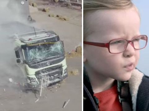 What happens when a four-year-old drives a lorry with a remote control?