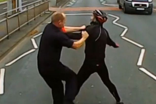 Cyclist and lorry driver end up in street fist fight (but we're not sure who started it)