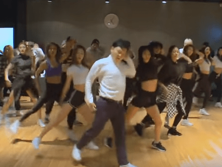 This footage of Psy rehearsing the moves from his Daddy video is brilliant