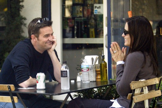 """Old friends Matthew Perry and Courteney Cox laugh and talk over lunch in West Hollywood, CA. The former """"Friends"""" actors grabbed some food at Joan's on Third before walking back to Courteney's office in the area. Perry has allegedly just been released from rehab. Pictured: Matthew Perry and Courteney Cox Ref: SPL638645 080305 Picture by: Splash News Splash News and Pictures Los Angeles:310-821-2666 New York: 212-619-2666 London: 870-934-2666 photodesk@splashnews.com"""