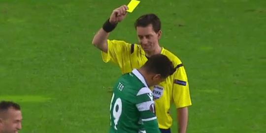 The ref seemed to find Teofilo Gutierrez's antics amusing (Picture: BT Sport)