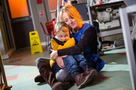 FROM ITV STRICT EMBARGO - No Use Before Tuesday 26 January 2016 Coronation Street - Ep 8832 Friday 5 February 2015 - 1st Ep Kevin, Sophie and Rita search frantically for Jack, worried sick that Jenny may have snatched him again. In the factory, a tearful Jenny Bradley [SALLY ANN MATTHEWS] hugs Jack closely. Picture contact: david.crook@itv.com on 0161 952 6214 This photograph is (C) ITV Plc and can only be reproduced for editorial purposes directly in connection with the programme or event mentioned above, or ITV plc. Once made available by ITV plc Picture Desk, this photograph can be reproduced once only up until the transmission [TX] date and no reproduction fee will be charged. Any subsequent usage may incur a fee. This photograph must not be manipulated [excluding basic cropping] in a manner which alters the visual appearance of the person photographed deemed detrimental or inappropriate by ITV plc Picture Desk. This photograph must not be syndicated to any other company, publication or website, or permanently archived, without the express written permission of ITV Plc Picture Desk. Full Terms and conditions are available on the website www.itvpictur