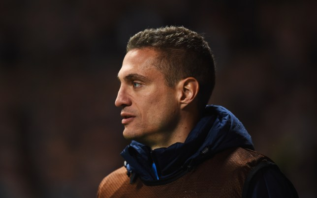 GLASGOW, SCOTLAND - FEBRUARY 19: Substitute Nemanja Vidic of Inter Milan looks on during the UEFA Europa League Round of 32 first leg match between Celtic FC and FC Internazionale Milano at Celtic Park Stadium on February 19, 2015 in Glasgow, United Kingdom. (Photo by Laurence Griffiths/Getty Images)