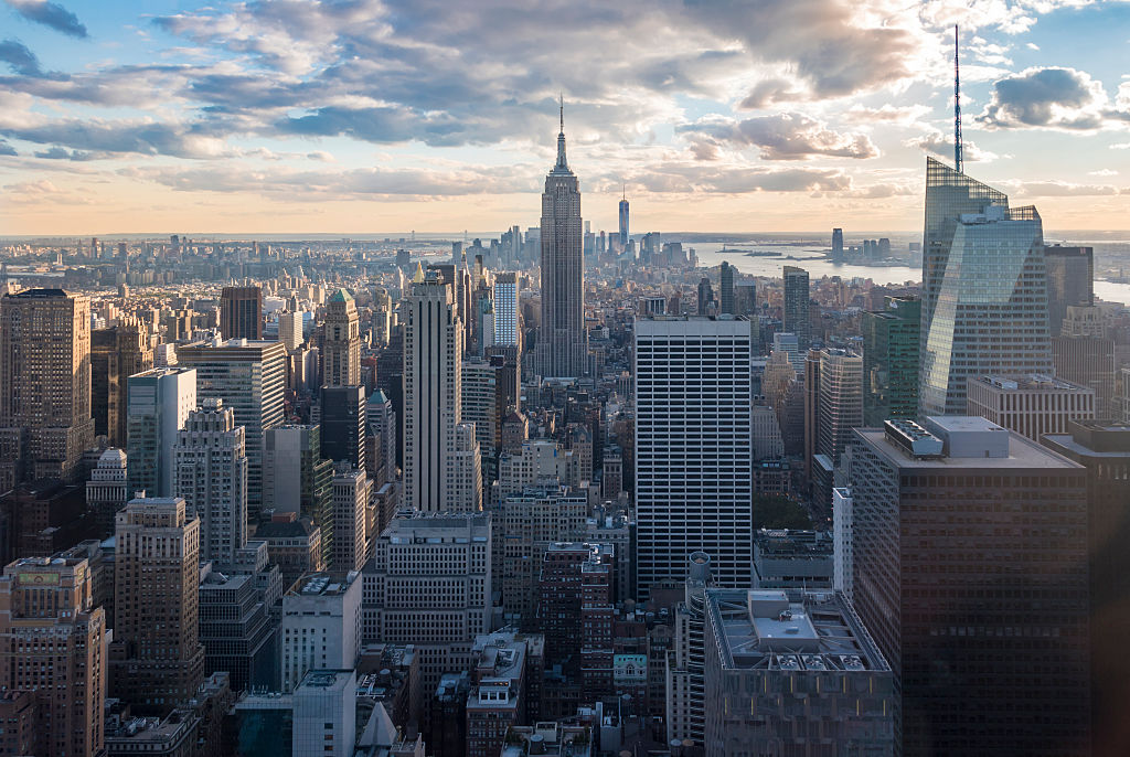 NEW YORK CITY, NEW YORK, UNITED STATES - 2015/10/16: New York attractions and sightseeing: City view with skyscrapers during sunset, seen from the Rock observation center. New York has architecturally significant buildings in a wide range of styles spanning distinct historical and cultural periods. (Photo by Roberto Machado Noa/LightRocket via Getty Images)