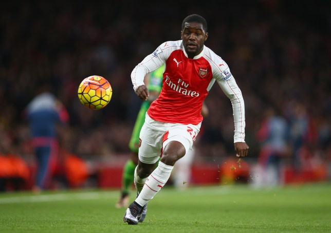 LONDON, ENGLAND - DECEMBER 05: Joel Campbell of Arsenal in action during the Barclays Premier League match between Arsenal and Sunderland at Emirates Stadium on December 5, 2015 in London, England. (Photo by Paul Gilham/Getty Images)