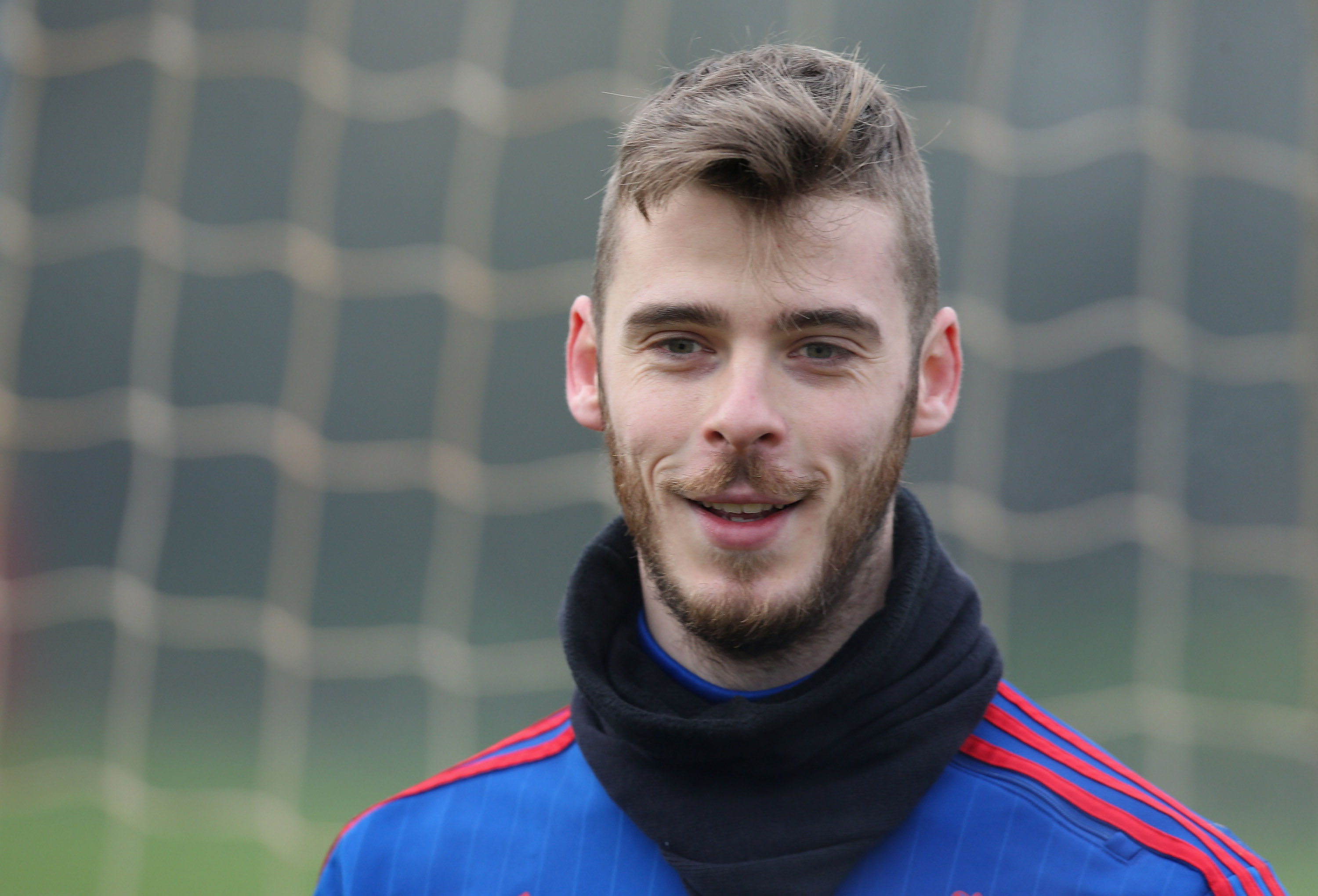 MANCHESTER, ENGLAND - JANUARY 07: (EXCLUSIVE COVERAGE) David de Gea of Manchester United in action during a first team training session at Aon Training Complex on January 7, 2016 in Manchester, England. (Photo by Matthew Peters/Man Utd via Getty Images)
